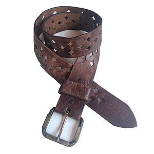 Vintage Brown Leather Belt with Diamond Cutouts